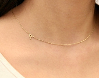 14k Gold Initial Necklace, Sideways Initial Necklace,Custom Name Necklace,Personalized Necklace,JX01