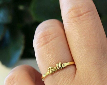 Dainty Name Ring-Personalized Rings-Gold Name Ring-Gift For Her-Stackable Ring-Stacking Ring-Initial Ring-Personalized Gift-JX08