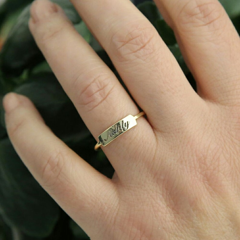 Bar Ring-Gold Tiny Bar Ring-Personalized Ring-Personalized image 0