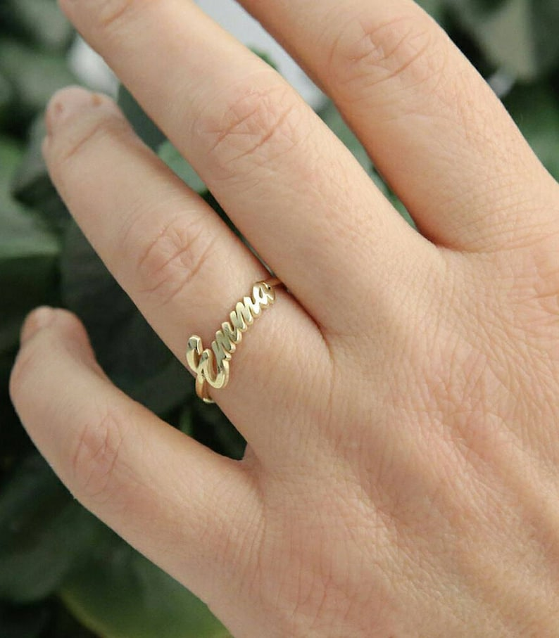 Name Ring-Personalized Ring-Gold Ring-Gold Name jewelry-Bridesmaid Personalized Gift-Rings-Personalized Gift-Initial Ring-JX08