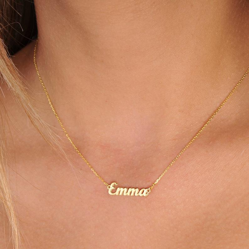 Tiny Gold Name NecklacePersonalized GiftsGold Name image 0