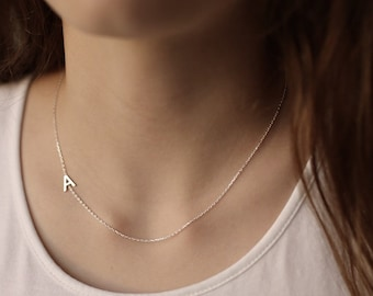 Sterling Silver Initial Necklace-Custom Necklace-Dainty Necklace-Letter Necklace-Monogram Necklace-Personalized Necklace-Birthday Gift-JX01