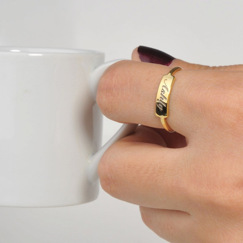 Bar Ring-Gold Tiny Bar Ring-Personalized Ring-Personalized Gift-Gift For Her-Custom Bar Ring-Bridesmaid Gift-Personalized Jewelry