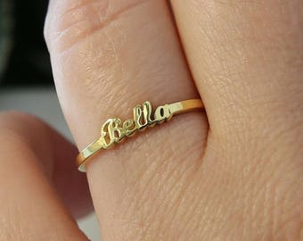 Tiny Name Ring-Personalized Rings-Gold Name Ring-Gift For Her-Stackable Ring-Stacking Ring-Initial Ring-Personalized Gift-JX08