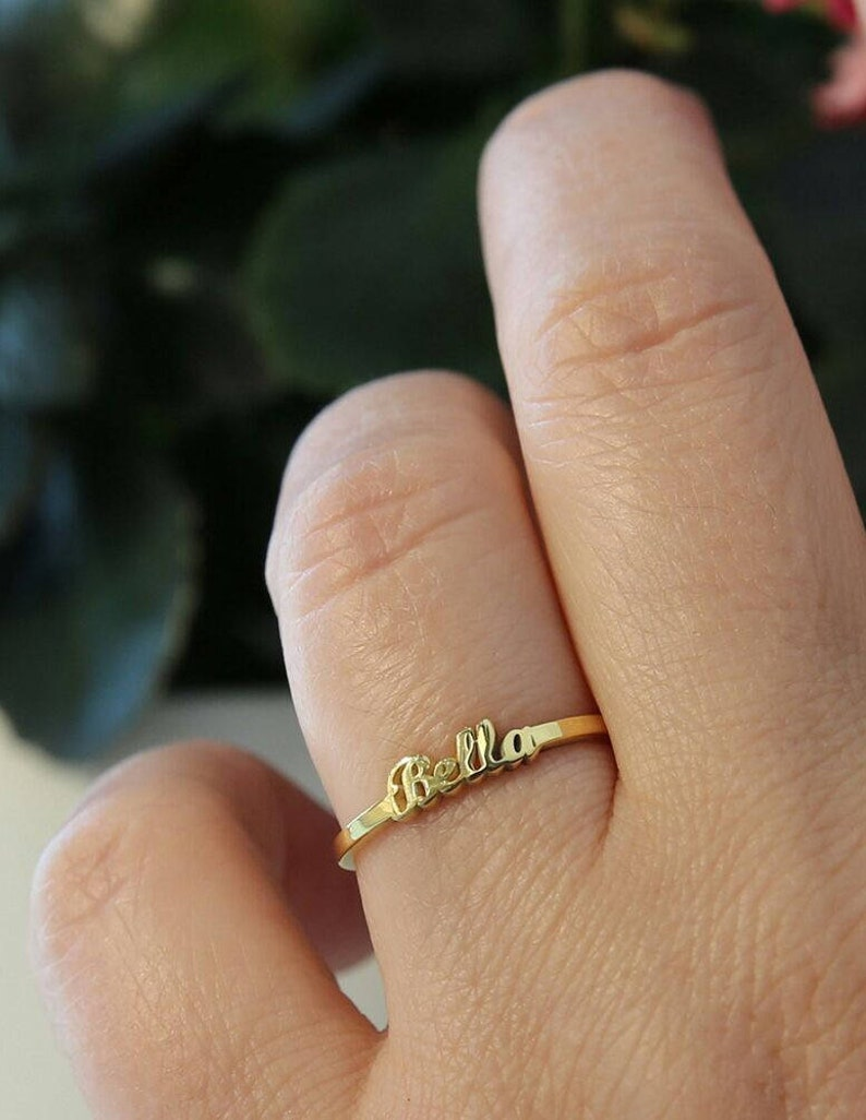 Dainty Name Ring-Personalized Ring-Gold Ring-Gold Name image 0