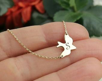 Sideways Bird Necklace Gold Dove Necklace Soar Bird Necklace Custom Necklace Personalized Gift Personalized Necklace Mother's Day Gift