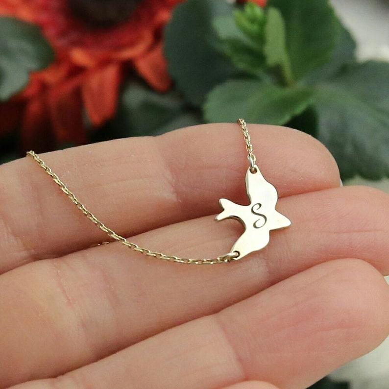 Bird Necklace-Gold Dove Necklace-Soar Bird Necklace-Custom image 1