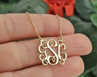 Monogram Necklace,Personalized Necklace,Personalized Jewelry,Personalized Gift,Letter Necklace-Initial Necklace-JX04