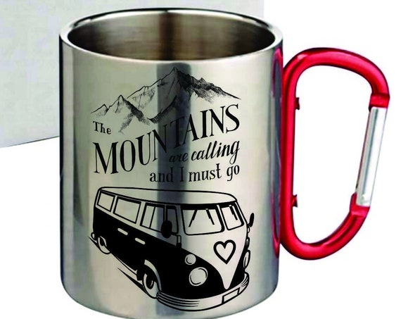 Stainless Steel coffee mug carabiner, mountain and hippy van lovers. Hiking gift.