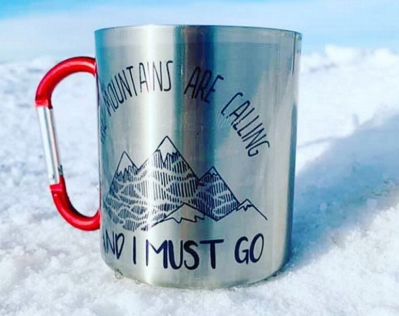 Stainless Steel coffee mug carabiner, mountain lovers. Hiking gift.