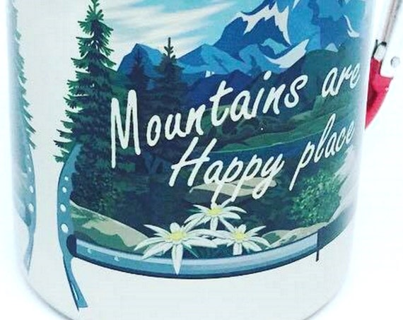 Edelweiss.Gift for the mountains lover.Hiking gift.Mountains are my happy place. For him. For her. Stainless Steel carabiner mug. Gift idea.