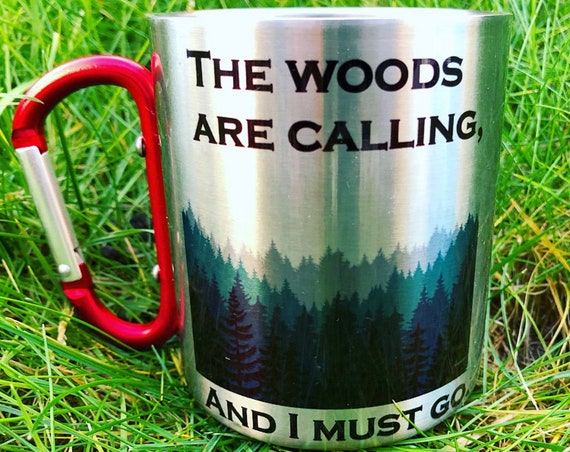 Stainless Steel coffee mug carabiner, woods forest lovers. Hiking gift.