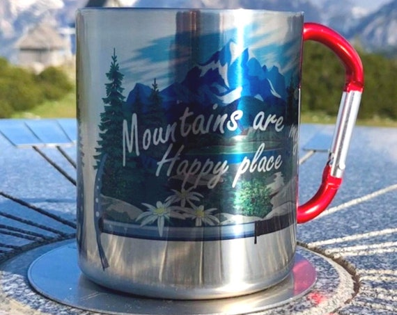 Edelweiss.Gift for the mountains lovers.Hiking gift.Mountains are my happy place.For him.For her. Stainless Steel carabiner mug.Gift idea.