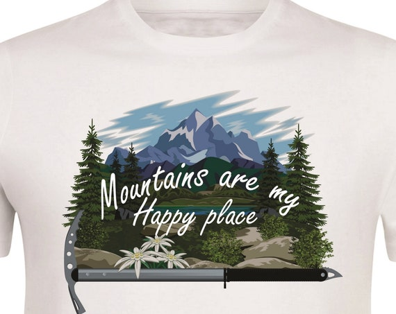 Edelweiss.Gift for the mountains lover.Hiking gift.Mountains are my happy place. For him. For her. Mountains t-Shirt. Gift idea.