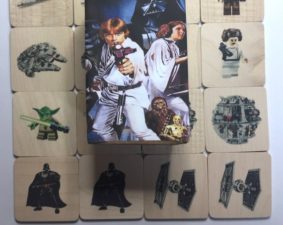 Wooden Memory Game - Star wars lego characters - game - preschool - wooden game - gift for children - Star wars gift