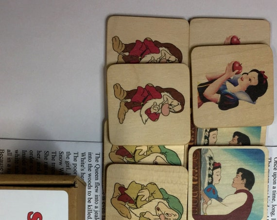 Wooden Memory Game - Snow White and the Seven Dwarfs - game - preschool - wooden game - gift for children - fairytale gift