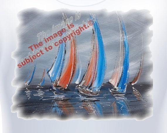 Ladies T-shirt Sailing boats.