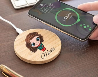 Personalized, Boy & Girl- Tailormade Wireless Wooden Charger Qi Wireless Charger for Mobile Phone iPhone XS/Max/XR/8/X/11/12
