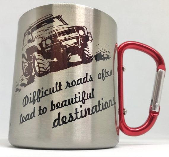 Gift for adventurers|jeep|travel gift for him||gift for her||sesert travel|| explorers|| Stainless Steel carabiner mug.