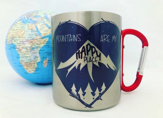 Gift for mountain lovers|mountains are my happy place|Hiking gift|Stainless Steel mug carabiner|gift idea|gift for him| gift for her|