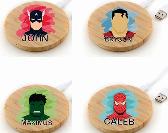 Personalized, superhero- Tailormade Wireless Wooden Charger QI Wireless Charger For Apple Iphone 11/XS/8/12/12 mini, Samsung S10-