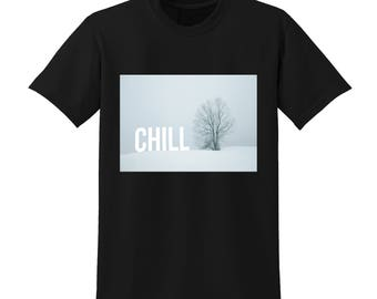 CHILL Winter Graphic Tshirt Snowy Christmas Scene Festive Xmas Jumper