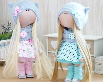 2 pieces Handmade doll Textile doll Fabric doll Rag doll Handmade toy Unique doll Russian doll Art doll Dolls Home Decoration doll Toys