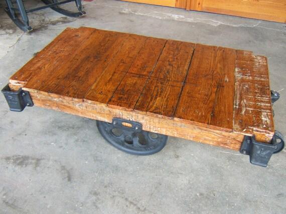 Outstanding Factory Cart Coffee Table Rustic Restored Vintage Lineberry K16102 Inzonedesignstudio Interior Chair Design Inzonedesignstudiocom