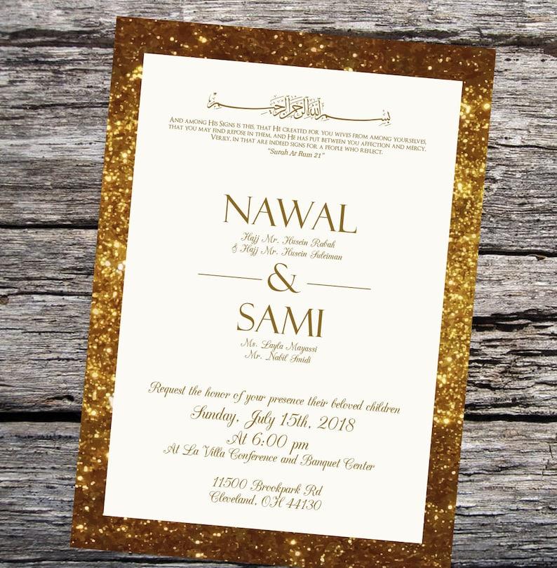 muslim wedding invitations glitter custom arabic