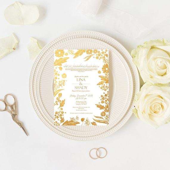 Muslim Wedding Invitations Gold Custom Arabic Invitation Etsy