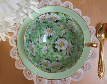 Shelley Green Daisy Chintz Teacup, Pattern (14216), Pale Green with White Daisies on Green Ground, Bone China – c. 1963-66, Boston Cup Shape