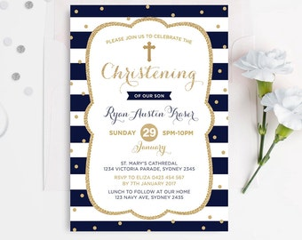 Boy Baptism Invitation. Navy and Gold Glitter Christening Invitation. Baptism Photo Invite. Christian Cross. Naming Day. First Birthday BAP4