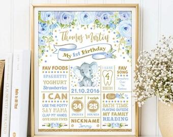 Confetti Birthday Sign Navy and Gold First Birthday Chalkboard Poster Nursery Decor BAP4 Boy 1st Birthday Milestone Stats Printable