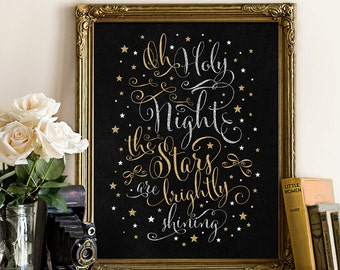 Christmas Calligraphy Decoration. Christmas Printable Wall Art. Gold and Silver Glitter. Holy Night. Holiday Printable Art. INSTANT DOWNLOAD