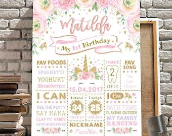 Unicorn Birthday Chalkboard Poster. Pink Gold Purple First 1st Birthday Sign. Magical Floral Rainbow Unicorn Milestone Photo Prop. UNI6