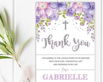 Silver Purple Floral Baptism Thank You Card Silver Glitter Etsy