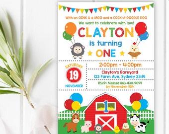 FARM Birthday Invitation. Barnyard Party Invitation. Farm Animals. Boys Girls Barnyard Invite. Farm Party. Barnyard First 1st Birthday FARM1