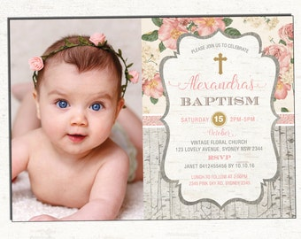 girl baptism invitation pink gold christening printable etsy