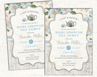 Baby Shower Tea Party Invitation. Rustic Vintage Blue Flowers Invite. High Tea. A Baby is Brewing Invitation. Floral Baby Boy. TEA2