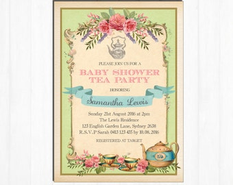 Vintage Tea Party Invitation. Floral Baby Shower Invite. Mint. Retro High Tea. Garden Sip and See. Girl Shower Watercolor Roses. TEA8