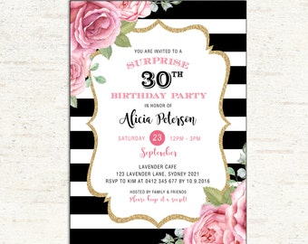 Surprise Adult Birthday Invitation. Floral Birthday Invite. Pink Roses. 16th 21st 30th 40th 50th ANY AGE. Chic Flower. Black Gold. FLO14