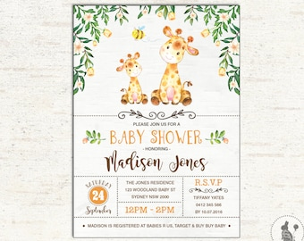 Giraffe BABY SHOWER Invitation. Woodland Baby Shower. Yellow Watercolor Flowers Baby Shower Invite. Safari. Jungle. Gender Neutral. GI1