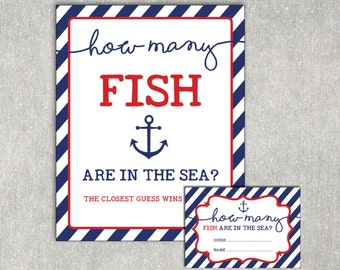 Nautical baby shower etsy guess how many fish are in the sea printable nautical baby shower game anchor filmwisefo