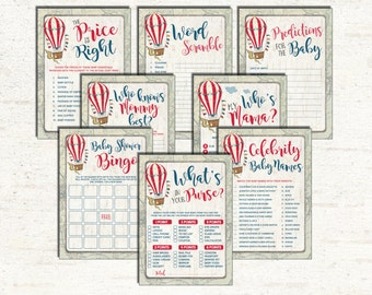 Vintage Hot Air Balloon GAMES PACKAGE. 8 Baby Shower Printable Games. Rustic Price Is Right. Bingo. Retro Adventure Up and Away HAB1