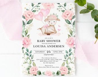 Gender Neutral Eucalyptus Wreath Printable Template Download GR7 Greenery Sheep Baby Sprinkle Invite EDITABLE Lamb Baby Shower Invitation