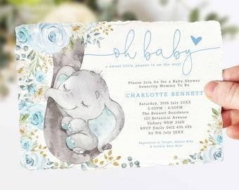 Boy Elephant Baby Shower Invitation Template. EDITABLE Blue Floral Roses Jungle Elephant Printable Invite. Blue and Gold Shower. EL8