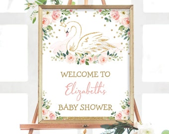 EDITABLE Swan Princess Welcome Sign, Blush Pink Floral Baby Shower Decorations, Girl 1st Birthday Party Decor Template Download, SWAN1