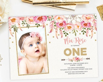 Floral First Birthday Invitation Pink And Gold Party Invite Bohemian Flowers Boho Girly Feathers Glitter FLO12A