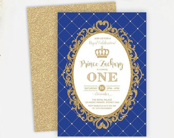 Royal PRINCE First Birthday Invitation. Royal Blue and Gold Party Invite. Prince Invitation. Glitter Gold Crown. Baby Boy. ANY AGE.  RBG1