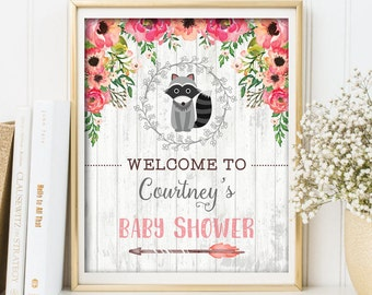 RACCOON Baby Shower Welcome Sign. PRINTABLE. Woodland Baby Shower. Vintage Flower Shower Decorations. Rustic Baby Shower Decor. Floral. RAC1